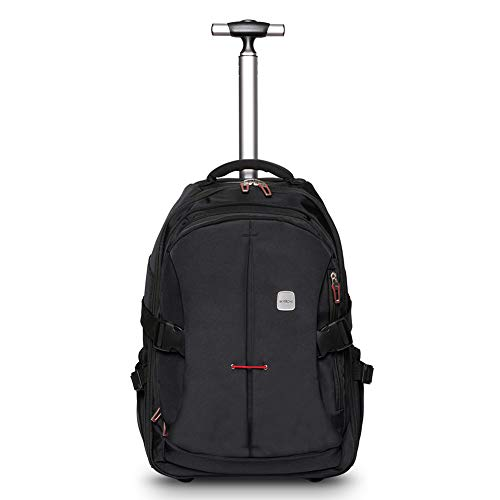 SKYMOVE 19 inches Wheeled Rolling Backpack for Adults and School Students Laptop Books Travel Backpack Bag, Black