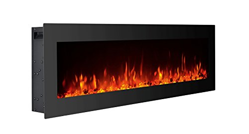 GMHome 60 Inches Electric Fireplace Wall Mounted Freestanding Heater Crystal Stone Flame Effect 9...