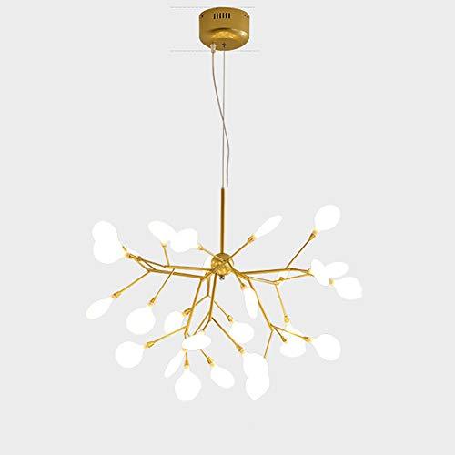 CCSUN G4 Luciérnaga Sputnik Lámpara De Araña Luces Colgantes, Elegante Rama 27 Luces Oro Lámpara Colgante Fuegos Artificiales 3000k Luz Cálida Bulbo Incluido Pasillo Bar Cocina-27-luces