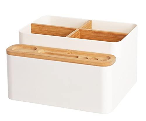 Organizador De Escritorio De Madera - Caja De Almacenamiento De Bambú para Oficina En Casa-White