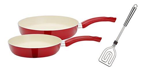 GSW 800341 Ceramica Beige Set de 3 pièces Poêles avec spatule, Scala Tout en Aluminium Rouge/crème, 50,1 x 29,3 x 5,2 cm, 3 unités