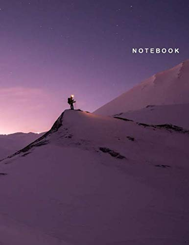Notebook: Ruled Notebook Journal - Beautiful Purple Sky over Snow Land Cover - 122 Pages - Large (8.5 x 11 inches)