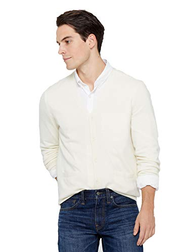 State Cashmere Men's Button Front Cardigan 100% Pure Cashmere Long Sleeve V-Neck Sweater (Large, White)