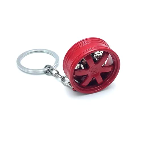 2 Pieces Auto Parts Metal Car Wheel Keychain, High-End Modified Brake Disc Keyfob, TE37 Wheel Metal Keychain Pendant?Black? (Red)
