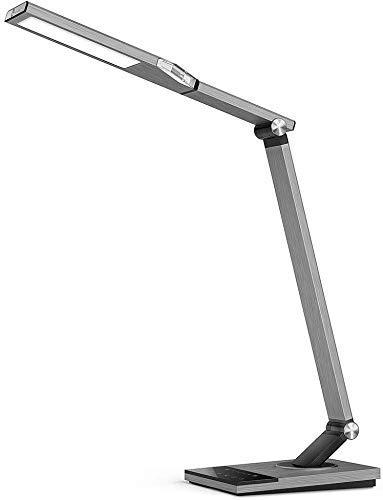 TaoTronics Lámpara Escritorio LED 12W Flexo Oficina con USB 5V/ 2A iSmart(5 Temperaturas de Color, 6 niveles de Brillo, Función de Memoria/Configuración Favorita, Temporizador, luz nocturna) Metal
