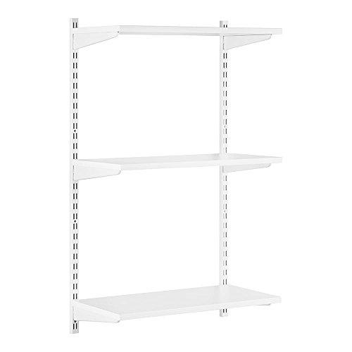 Stabiles Wandregalsystem Twin32 Wandregalset in weiß ideal für Wohnzimmer, Garage, Küche und Hauswirtschaftsraum - 2 x 1000 mm Wandschienen, 3 x Regalfachböden MDF beschichtet, 6 x Regalträger 600 mm