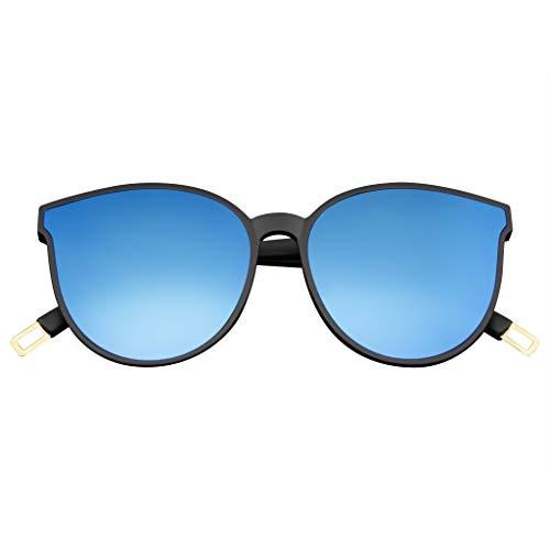 Emblem Eyewear - De Los Hombres De Las Mujeres Retro Moderno Con Cuernos Borde Espejado Plano Infinito Lente Gafas De Sol (Azul)