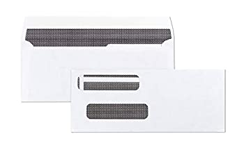 100 Self Seal Double Window Security Tinted Envelopes - for Computer Checks-Compatible for QuickBooks 3-5/8 X 8-11/6