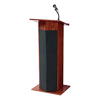 Norwood Commercial Furniture Stand-Up Floor Lectern with Built-in Speaker Sound & Wireless Tie Clip Microphone NOR-DOU111PLS