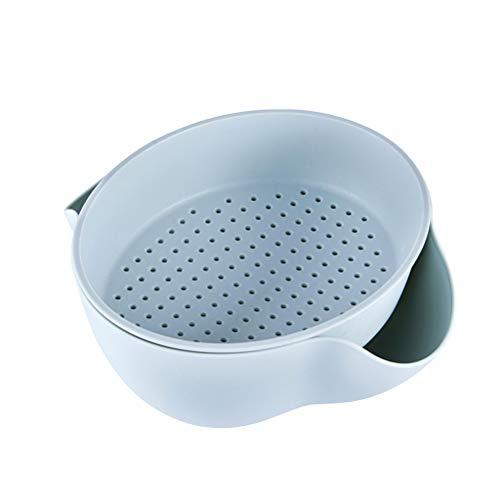 BESTONZON Cuencos y coladores 2 en 1 multiusos para mezclar y escurridor para verduras pasta de frutas y cocina (Azul)