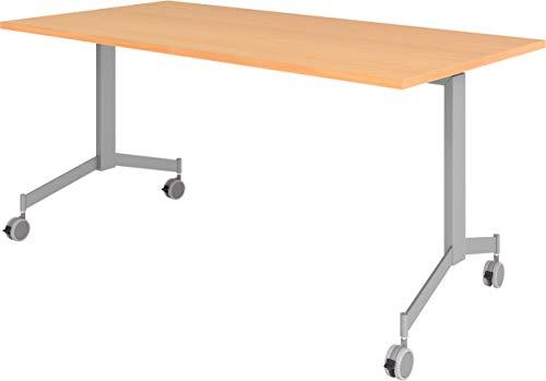 bümö Klapptisch fahrbar 160 x 80 cm - mobiler Konferenztisch klappbar & rollbar | Meetingtisch massiv mit Rollen (Buche)