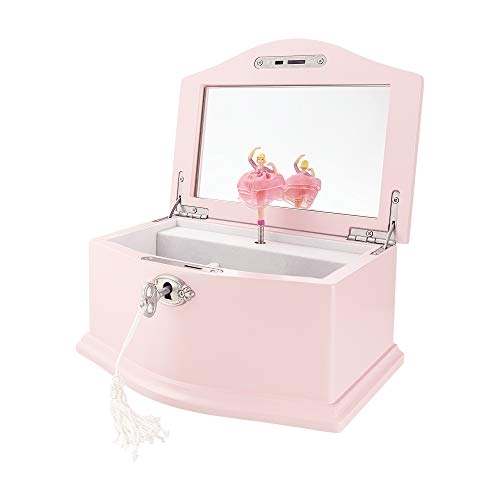 TIMLOG Girls Jewelry Box with Lock, 2 Ballerina Wooden Musical Small Jewelry Storage Organizer with Mirror for Girls, Pink