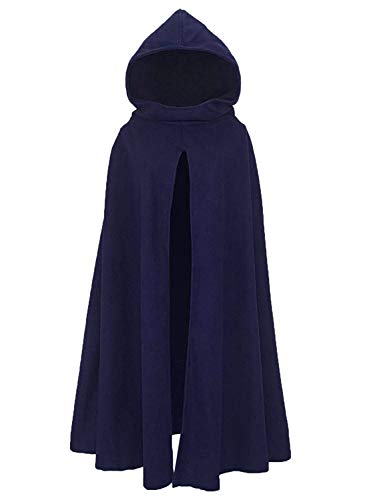 Arjungo Women's Gothic Hooded Open Front Poncho Real Cloak Renaissance Cape Outerwear Navy