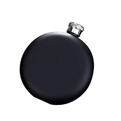 Homeland Petaca Circular pequeña para Licor Negro Mate de Acero Inoxidable de 5 oz a Prueba de Fugas con Embudo en Paquete de Regalo para Hombres (Size : 5oz/145ml)