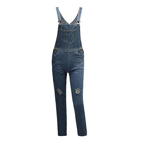 QQKLP 2019-2020 Mode zerrissene Jeans-Mädchen Denim Stonewash Blau Latzhose Latzhose mit Patches Overall 30