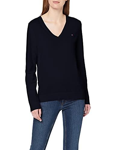 Tommy Hilfiger Damen Heritage V-Neck Sweater Pullover, Blau (Midnight 403), Medium (Herstellergröße: M)