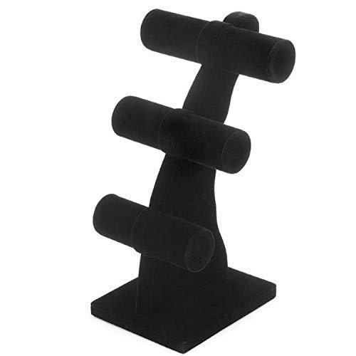 Beadaholique Bracelet T-Bar Jewelry Display Stand, 3-Tier, Black Velv