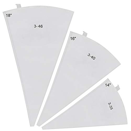 3 Packs Reusable Icing Pastry Cake Decorating Bags in 3 Sizes(14,16,18 in)