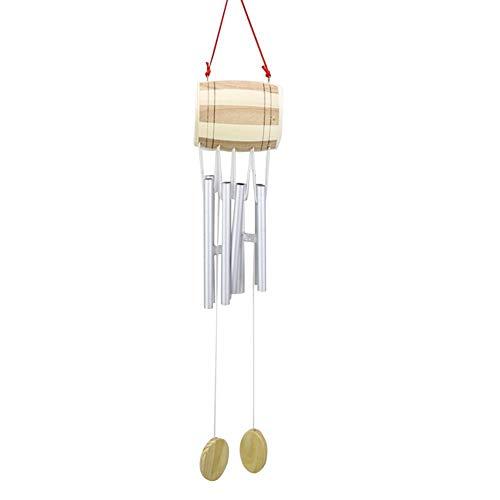 popchilli Chimes, metalen wind Chime met houten multitube drum 52X10CM-handgemaakte metalen wind Chime opknoping balkon tent deur decoratie voor tuin patio en terras-goud/zilver leuk