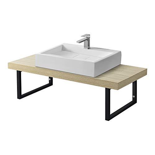 Neuhaus Encimera de Lavabo 100 x 45 x 30 cm Toallero Estante de Baño Tablero de Pared para Lavabo con Soporte de Metal Mueble de Baño Color Roble