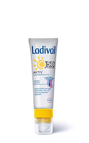 Ladival, Aktiv Sonnenschutz für Gesicht und Lippen LSF Parfümfreie 2in1 Sonnencreme mit LippenschutzStift ohne Farb und Konservierungsstoffe wasserfest 50 ml, Lichtschutzfaktor 50+