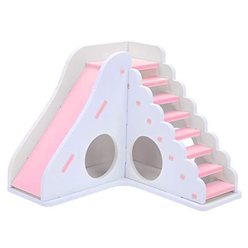 Yowablo Kleines Haustier Spielzeug Unterhaltung Spielhaus Farbe Hamster Holzspielzeug Leiter Sport (Größe:16.7 * 16.5 * 13.5cm,Rosa)
