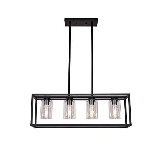 Naiyn 4-Light Retro E27 Chandelier Negro Colgante Cocina Isla Jaula Luces Colgantes Lámpara Colgante Moderna con Pantalla de Vidrio Varillas Ajustables Accesorio de iluminación