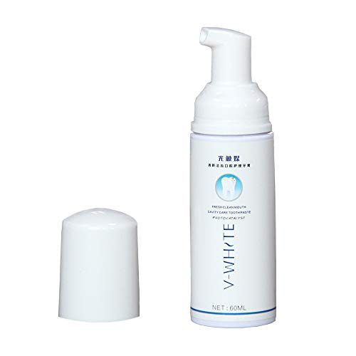 V-White Foam Toothpaste, Deep Cleaning Teeth Whitening Toothpaste Liquid Natural Mouth Wash Water 60ml