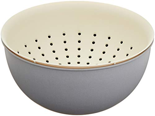 A'Domo PV-BAM-6337 Point-Virgule Bamboo Fiber Set of Colander and Bowl of Cement Gray and Off-White Ø 23.5Cm H 12Cm