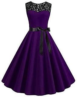 فستان المناسبات الخاصة ، لون بنفسجي و غامق ، مقاس متوسط - للنساء