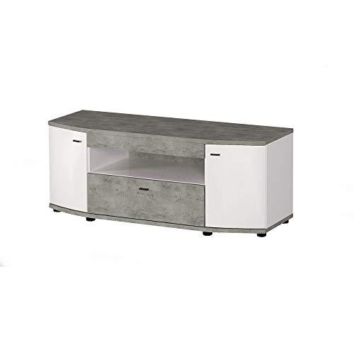 Newfurn TV Lowboard Modern TV kast TV tafel rek board II 130x51,7X 56,7 cm (BxHxD) II [Marin.Seven] in betonlook / hoogglans wit woonkamer slaapkamer