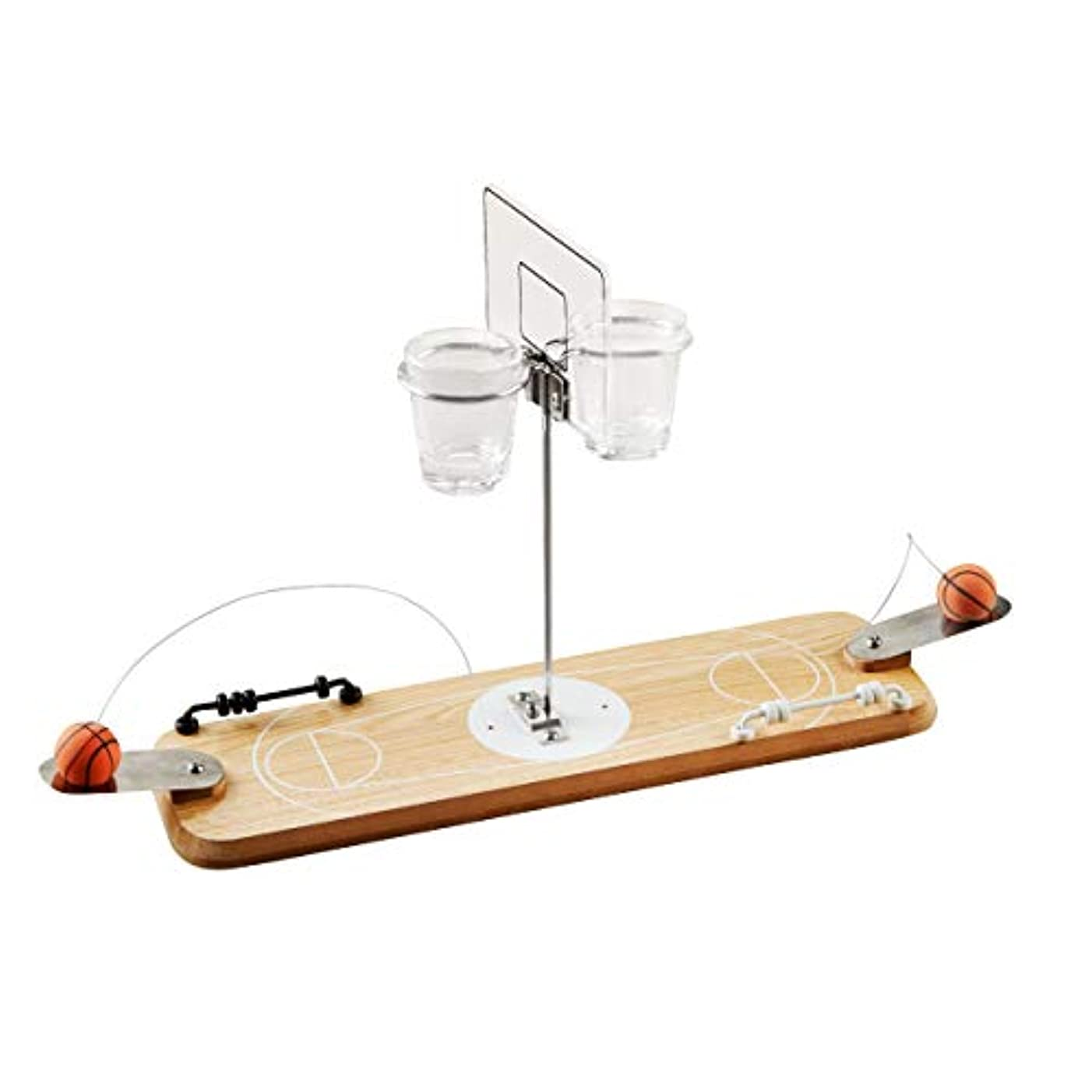 Refinery 2-Player Wooden Basketball Game, Vintage-Inspired Tabletop Hoops, 2 Shot Glass Baskets for Extra Fun, Drinking Game for Adults, Perfect for Bar or Man Cave, Keep Score with Sliding Rings