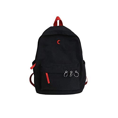LAMTON Mochila de Alta Escuela de Moda de Gran Capacidad del Estudiante Bolsa de Mano Mochila Escolar (Color : Negro, tamaño : 45L)