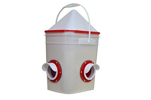 RentACoop Chicken Feeder-Holds 20 Pounds-Pellets-Crumbles-Grain in Bucket - for 21st Century Chicken Owners - Inside or Outside of Coop - Use with Nipple Waterer (2 Feed Ports - Corner (4-6 Hens))