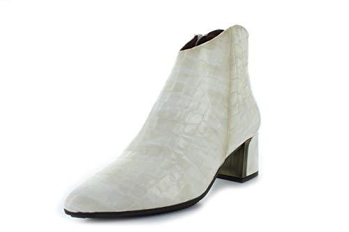 Hispanitas Botas para mujer Amelia HI991177 Amelia con tacón alto en bloque de piel de cocodrilo, color crema (visión), color Marfil, talla 37 EU