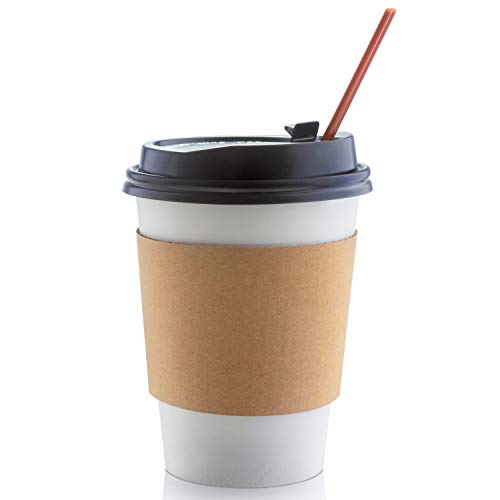 50 Sets Paper Coffee Cups with Lids 12 Oz, Includes Sleeves & Stirrers, Disposable Coffee Cups with Lids Bundle, Hot Togo Coffee Cups with Lids for Beverages and Cold Drinks by Cuperfect