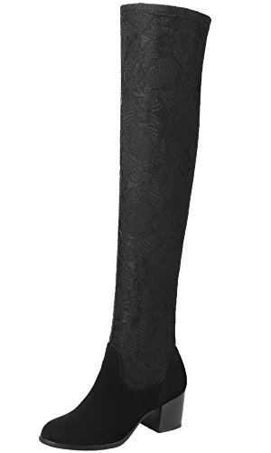 BIGTREE Overknee Stiefel Damen Spitzen Mesh Elastische Block Oberschenkel Stiefel Schwarz 43 EU