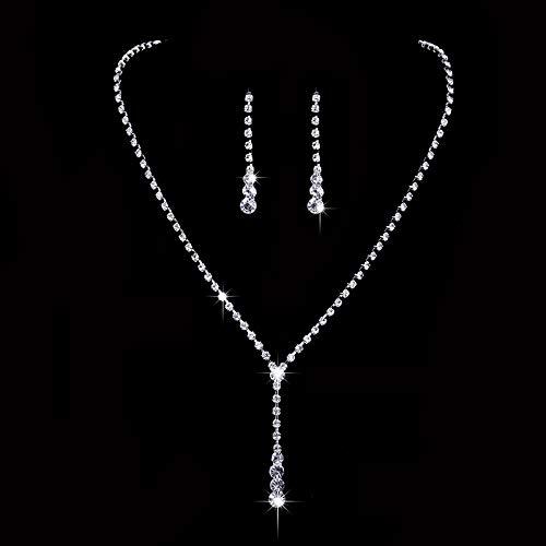 Ushiny Parure de bijoux de mariage en argent avec collier et...