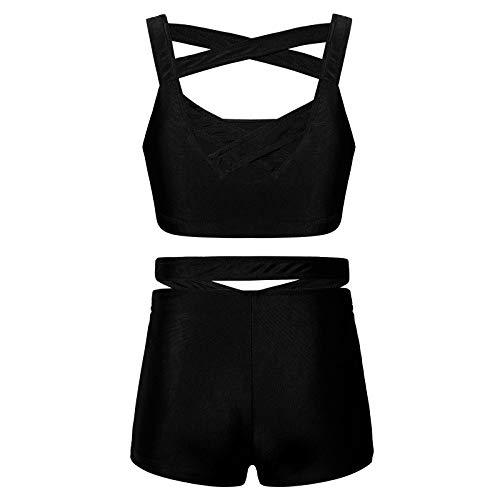 CHICTRY Ropa Deportiva de Yoga Gimnasia para Niña Conjunto Deportivo de Danza Baile Tank Top + Pantalónes Cortos Deporte Fitness Running(6-14años) Negro 11-12 años