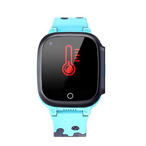 Casinlog Nuevo 4G Kids GPS Tracker Relojes Cuerpo Termómetro Impermeable Cámara Video Llamada al reloj Rastreador de edad T8W (Azul)