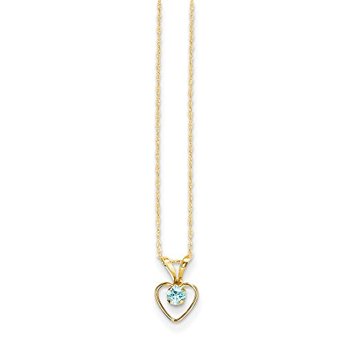 14k Yellow Gold 3mm Blue Zircon Heart Birthstone Chain Necklace Pendant Charm Fine Jewelry For Women Gifts For Her