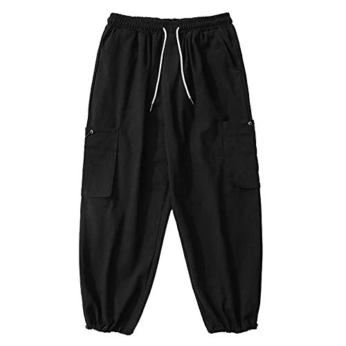 Pantalones Cargo para Hombre, Pantalones Harajuku con cordón, cómodos para la Piel, Pantalones Holgados de Calle con Pierna Ancha y Personalidad Simple