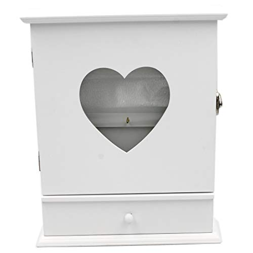 Conc Schöner Schlüsselkasten aus Holz, Shabby weiß, Herz, mit Schublade, 27x21,5x6cm