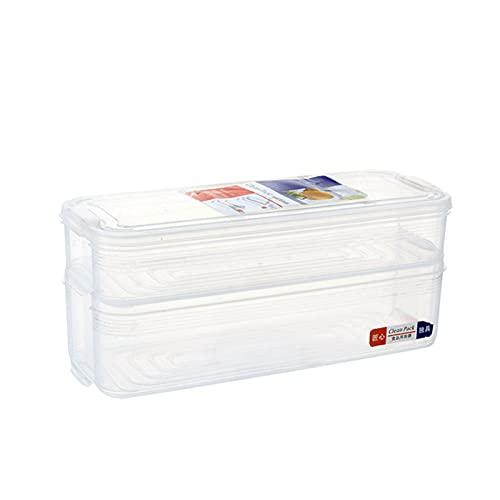RoxNvm Lebensmittellagerbehälter, Frischhaltedose, 2-lagiger Kunststoff-Stapelkühlschrank Transparenter Lebensmittelbehälter mit Deckel zum Frischhalten und Aufbewahren von Fisch, Fleisch, Käse