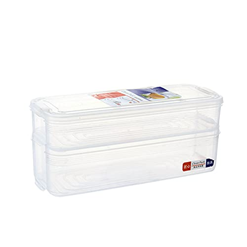 RoxNvm Fridge Storage Box, Stack Refrigerator Fridge Containers, 2 Layer Plastic Stack Refrigerator Transparent Food Container Set with Lids for Keep Fresh and Storing Fish, Meat, Cheese, Seasoning