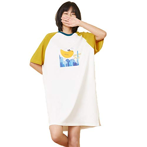 DyM Camisón de mujer de algodón modal falda de longitud media pijamas lindos primavera y verano hielo ropa de casa suelta fina y sedosa(Color:Orange,Size:XL)