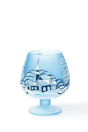 AROMA HOME STUDIO ART PAINTING Weihnachts Windlicht Teelichthalter, Winter-Design Hills, Weinglas (blau, klein)
