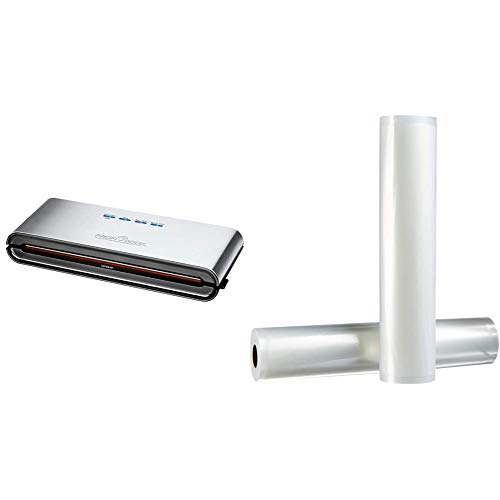 ProfiCook PC-VK 1080 Edelstahl-Vakuumiergerät, Lebensmittel bleiben vakuumiert bis zu 8x länger frisch & Amazon Basics 28 cm x 500 cm, 2 Rollen für Vakuumierer
