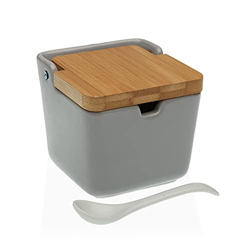 TIENDA EURASIA® Salero de Cocina de Cerámica con Tapa de Bambú Diseños...