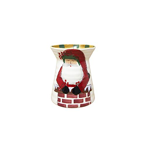 Vietri Old St. Nick Utensil Holder Coming Out of the Chimney, NEW AND EXCLUSIVE 2019 DESIGN